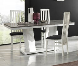 Naro Dove Grey and White Italian Dining Table and 4 Chair