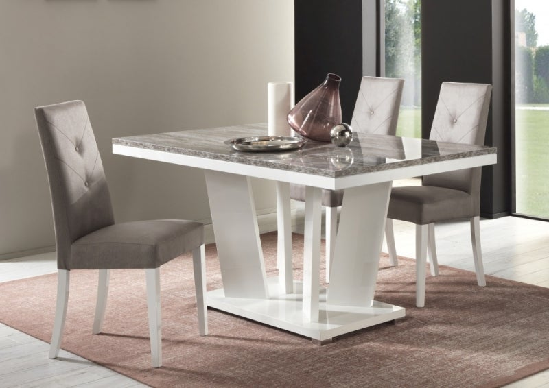Naro Dove Grey and White Italian Dining Table and 4 Fabric Chair