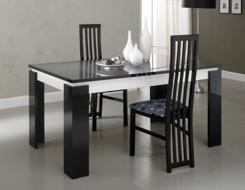 Vita Black and White Italian Extending Dining Table and 4 Chair