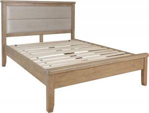 Hatton Oak Low Foot End Bed with Fabric Headboard