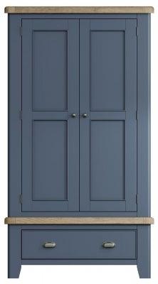 Ringwood Blue Painted 2 Door Wardrobe - Oak Top