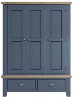 Ringwood Blue Painted 3 Door Wardrobe - Oak Top