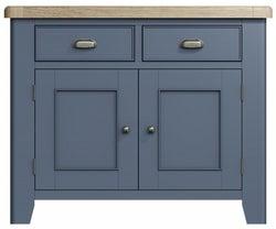 Ringwood Blue Painted 2 Door 2 Drawer Sideboard - Oak Top