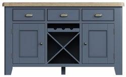 Ringwood Blue Painted 2 Door 3 Drawer Sideboard - Oak Top