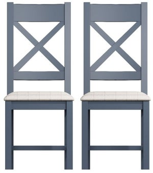 Ringwood Blue Painted Cross Back Dining Chair with Natural Fabric Seat (Pair)