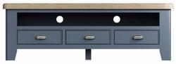 Ringwood Blue Painted Large TV Unit - Oak Top