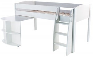 Stompa White Mid Sleeper with Pull Out Desk