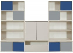 Stompa White Storage Bundle C3 and 2 Large Doors - Grey and Blue