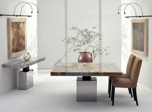 Stone International Athena Square Dining Table - Marble and Polished Steel