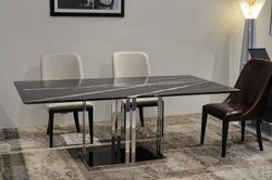 Stone International Elba Marble Dining Table - Black Glass and Metal
