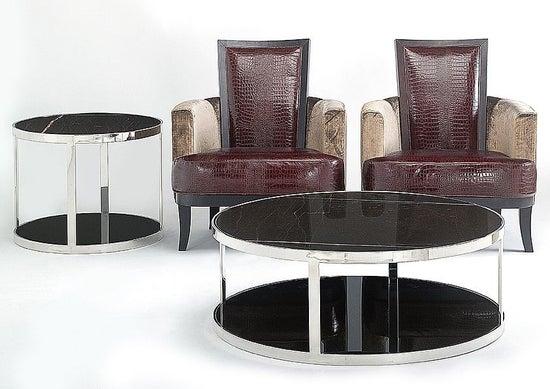 Stone International Elba Marble Round Coffee Table - Black Glass and Metal