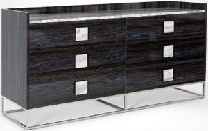 Stone International Elliot Marble and Polished Steel 6 Drawer Chest