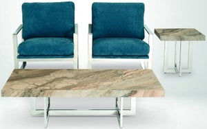 Stone International Horizon Marble and Polished Steel Occasional Tables