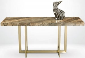 Stone International Horizon Marble and Satin Brass Console Table