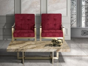 Stone International Horizon Marble and Satin Brass Occasional Tables