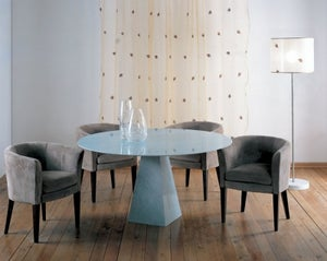 Stone International Pyramid Marble Round Dining Table