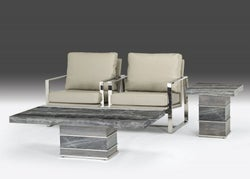 Stone International Soho Occasional Tables - Marble and Polished Stainless Steel