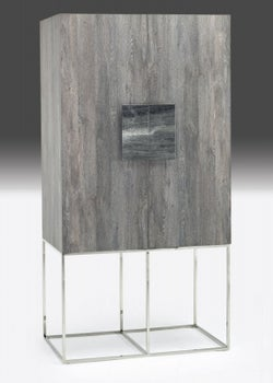 Stone International Tribeca Marble and Metal Hall Cabinet with LED Light