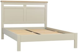 Clearance - TCH Cromwell Natural Stone Painted Base and Frost Oak Top 4ft 6in Double Panel Bed - New - E-715