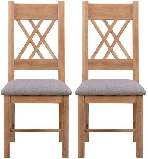 Clarion Oak Dining Chair with Grey Fabric Seat (Pair)