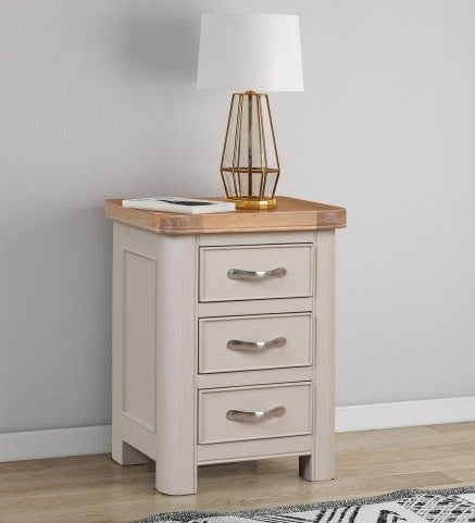 Clarion Oak and Grey Painted Bedside Cabinet