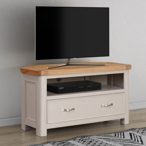 Clarion Oak and Grey Painted Corner TV Unit
