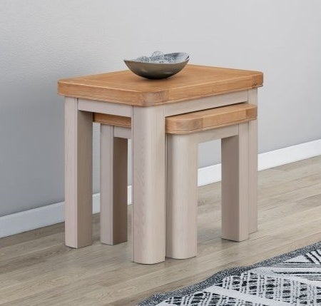Clarion Oak and Grey Painted Nest of Tables