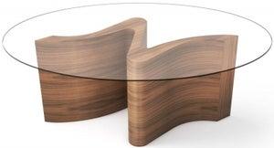 Tom Schneider Serpent Oval Glass Top Medium Dining Table