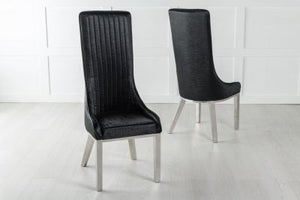 Allure High Back Dining Chair with Chrome Legs - Black Leather
