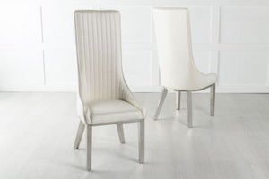 Allure High Back Dining Chair with Chrome Legs - White Leather