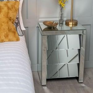Angled Slanted Mirrored 3 Drawer Bedside Cabinet