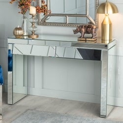 Angled Slanted Mirrored 2 Drawer Dressing Table