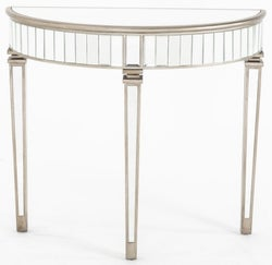 Antoinette Mirrored Half Moon Console Table with Champagne Trim