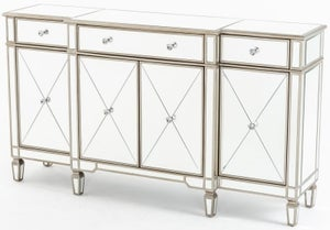 Antoinette Mirrored Large Sideboard with Champagne Trim