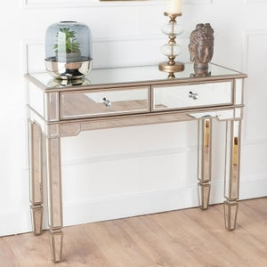 Antoinette Mirrored Console Table with Champagne Trim