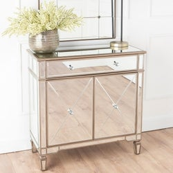 Antoinette Mirrored Small Sideboard with Champagne Trim