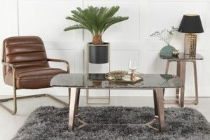 Urban Deco Aurora Brown Marble and Bronze Coffee Table