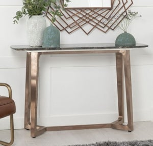 Urban Deco Aurora Brown Marble and Bronze Console Table