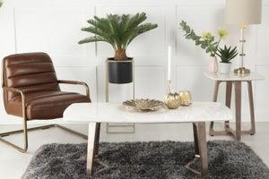 Urban Deco Aurora White Marble and Bronze Coffee Table