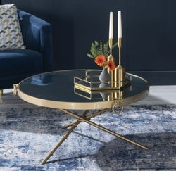 Bari Gold Coffee Table - Round Mirrored Top