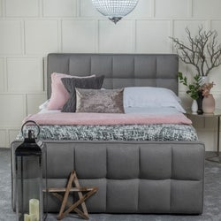 Urban Deco Cube Grey Fabric 5ft King Size Ottoman Storage Bed