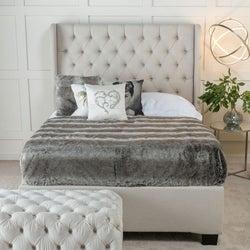 Urban Deco Duchess Oatmeal Fabric 5ft King Size Ottoman Storage Bed