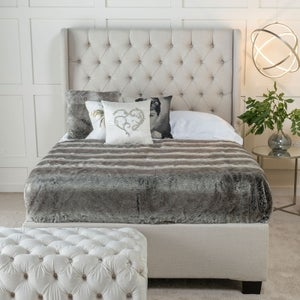 Urban Deco Duchess Oatmeal Fabric 4ft 6in Double Ottoman Storage Bed