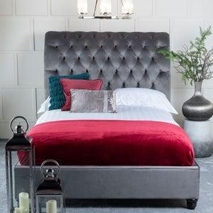 Urban Deco Ohara Grey Velvet 4ft 6in Double Bed