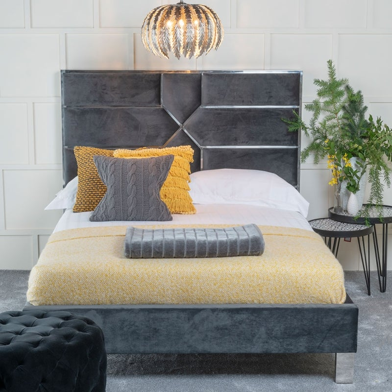 Urban Deco Monza Charcoal Grey Fabric 5ft King Size Bed