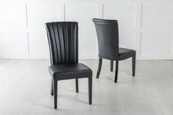 Cadiz Black Leather Dining Chair - Polished Black Legs & Side Trims