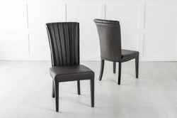 Cadiz Brown Leather Dining Chair - Polished Black Legs & Side Trims