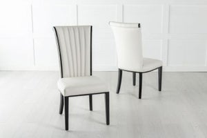 Cadiz White Leather Dining Chair - Polished Black Legs & Side Trims