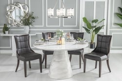 Urban Deco Carrera 130cm White Marble Dining Table and 4 Paris Black Chairs