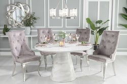 Urban Deco Carrera 130cm White Marble Dining Table and 4 Premiere Beige Knockerback Chairs